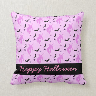 Pink Witch and Bats Girly Halloween Throw Pillow