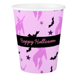 Pink Witch and Bats Girly Paper Cup