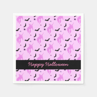 Pink Witch and Bats Girly Paper Napkin