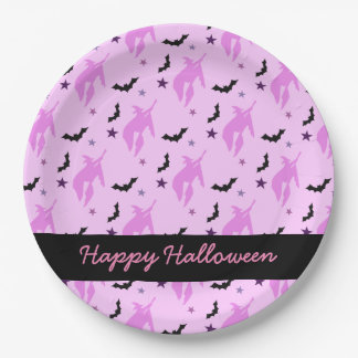 Pink Witch and Bats Girly Paper Plate