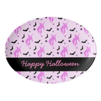 Pink Witch and Bats Girly Porcelain Serving Platter