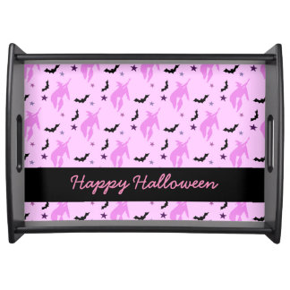 Pink Witch and Bats Girly Serving Tray