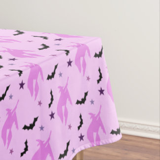 Pink Witch and Bats Girly Tablecloth