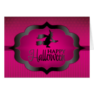 Pink witch Halloween shape Card