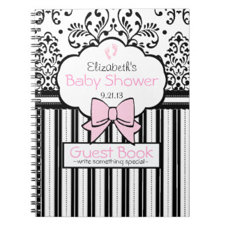 Pink with Black Damask Baby Shower Guest Book- Spiral Notebook
