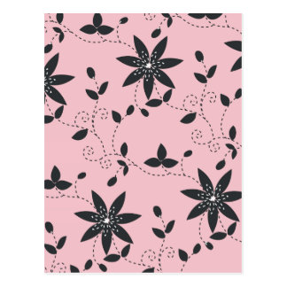 Pink With Black Flowers Postcard