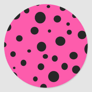 Pink with Black Polka Dots Fashion Fun Classic Round Sticker