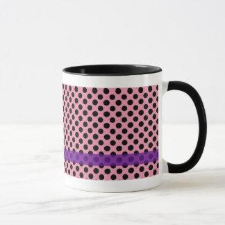 Pink with Black Polka Dots Girl Teddy Bear Mug
