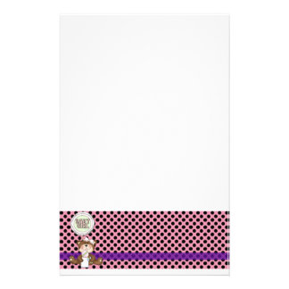 Pink with Black Polka Dots Girl Teddy Bear Stationery