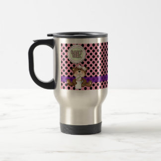 Pink with Black Polka Dots Girl Teddy Bear Travel Mug