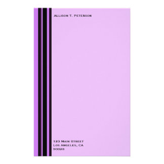 pink with black purple stripes stationery