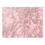 Pink with Brown Fancy Flowers Background Postcard
