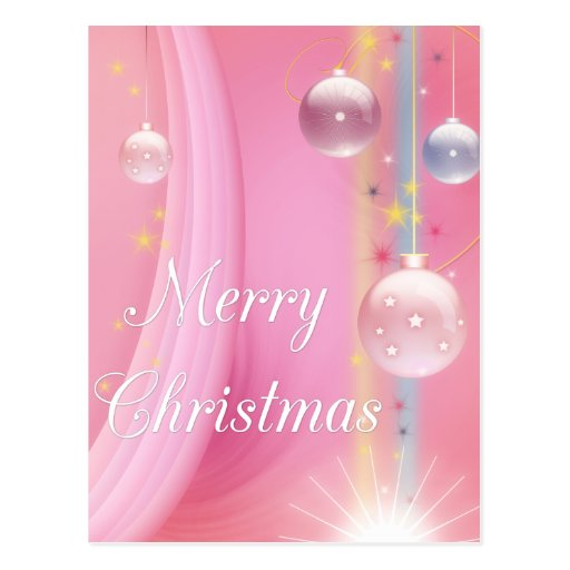Pink with Bulbs Merry Christmas Holiday Postcards