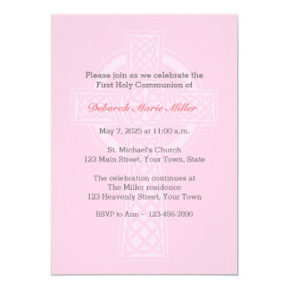 Pink with Cross Religious Invitation