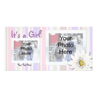 Pink with Daisy Custom Photo Birth Announcement Photo Card