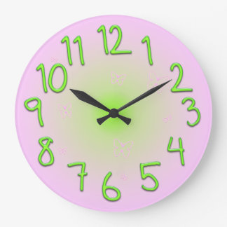 Pink with funny green numbers and butterflies clocks