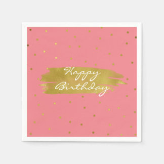Pink With Gold Dots Birthday Napkins