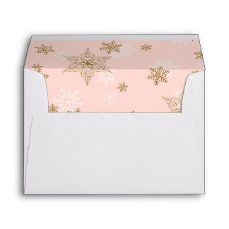 Pink with Gold Glitter Snowflakes, Winter Sparkle Envelope