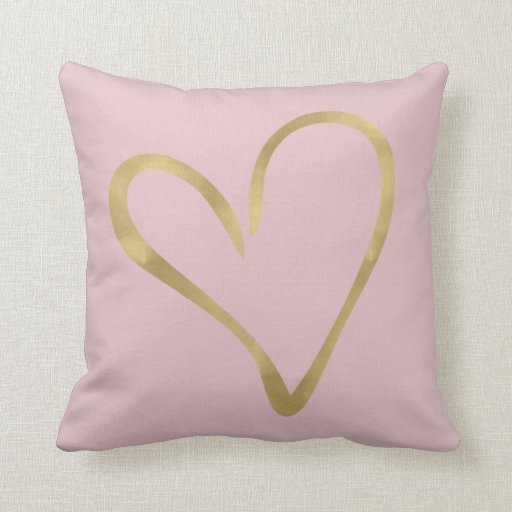 Pink with Gold Heart Throw Pillow Zazzle