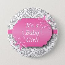 Pink with Gray Damask Pattern Pinback Button