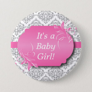 Pink with Gray Damask Pattern Pinback Button