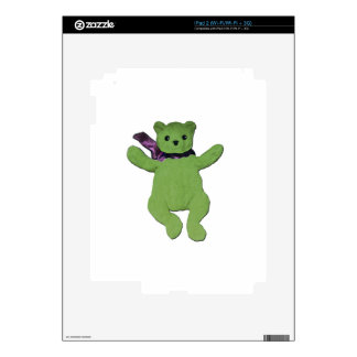 pink with Green Teddy Bear Decal For iPad 2