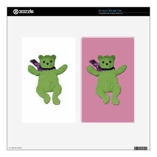 pink with Green Teddy Bear Decals For Kindle Fire