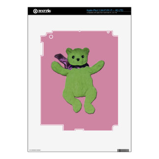 pink with Green Teddy Bear iPad 3 Decals