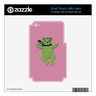 pink with Green Teddy Bear iPod Touch 4G Decal