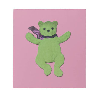 pink with Green Teddy Bear Notepad