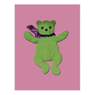 pink with Green Teddy Bear Postcard