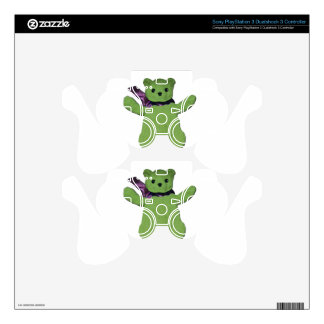 pink with Green Teddy Bear PS3 Controller Skins