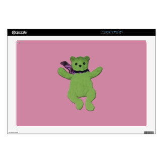 pink with Green Teddy Bear Skin For Laptop