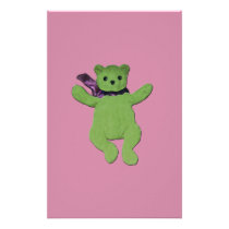 pink with Green Teddy Bear Stationery