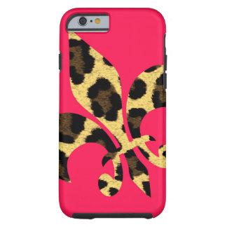 Pink with leopard Fleur de Lis iPhone 6 Case