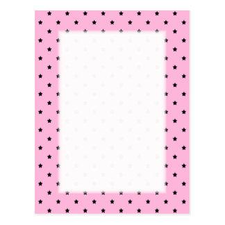 Pink with little black stars. postcard