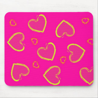 Pink with Neon Green Grunge Hearts Mouse Pad