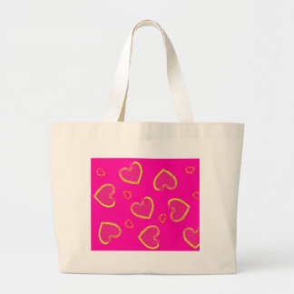 Pink with Neon Green Grunge Hearts Tote Bags