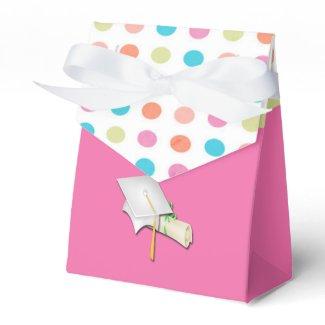 Pink with Polka Dots Graduation Favor Box