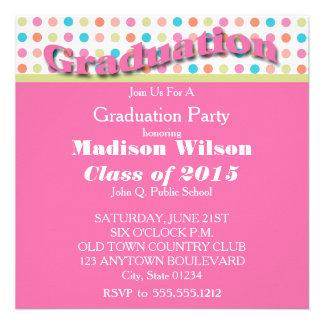 Pink with Polka Dots Graduation Invitations
