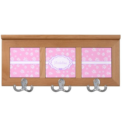 Pink with Purple & White Daisies Custom Coat Rack