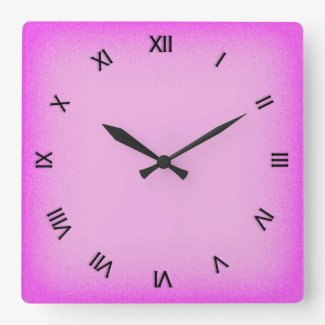 Pink with Roman Numerals Square Wallclock