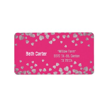 Wedding Themed Pink with silk heart wedding address label