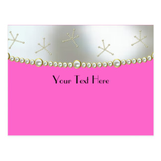 Pink With Silver and Pearls Postcard