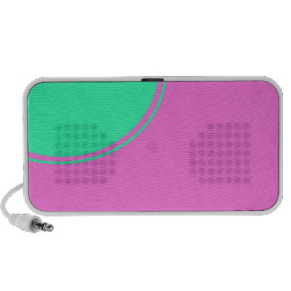 pink with turquoise circle portable speakers