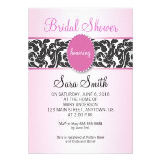Pink with Vintage Black Swirls Bridal Shower Custom Announcements