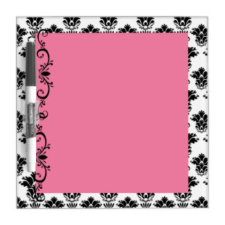 Pink with White and Black Damask Dry Erase Board