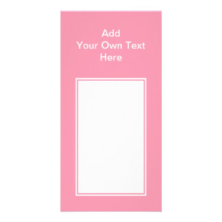 Pink with white area and text. picture card