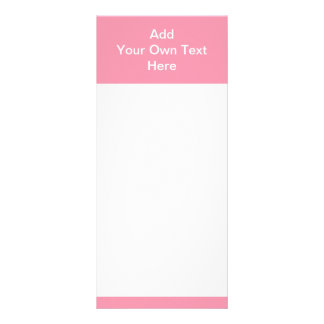 Pink with white area and text. rack card