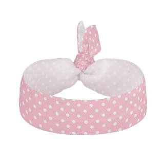 Pink with White Dots Ribbon Hair Tie